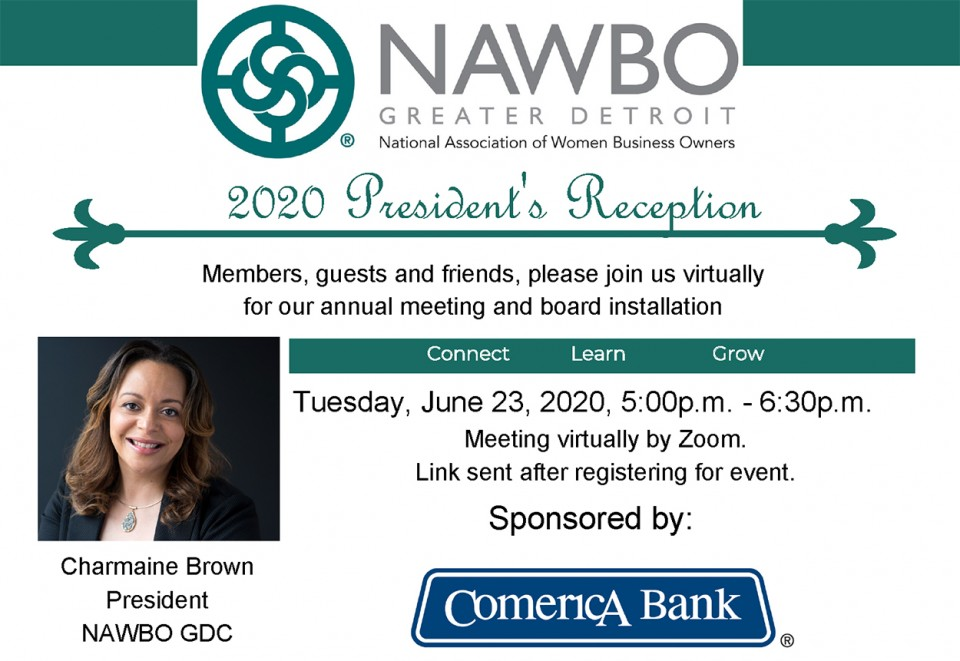 Join us for the annual meeting and installation of the board. Sponsored by Comerica Bank